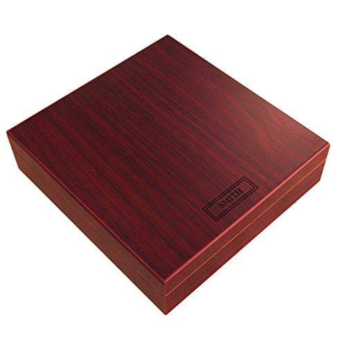 Engraved Cherry Finish Spanish Cedar Humidor with Magnet Seal and Humidifier Gel - Engraved Cigar Humidor