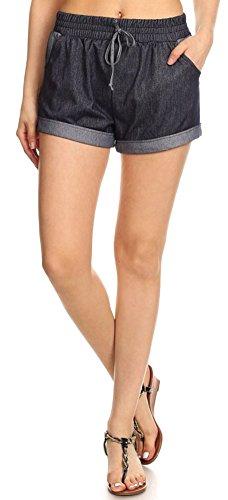 Drawstring Running Shorts (Women's Vintage Two Tone Stretchy Drawstring Denim Jean Shorts, Navy,)