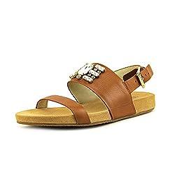 MICHAEL Michael Kors Women's Luna Flat Sandals, Luggage, 10 B(M) US