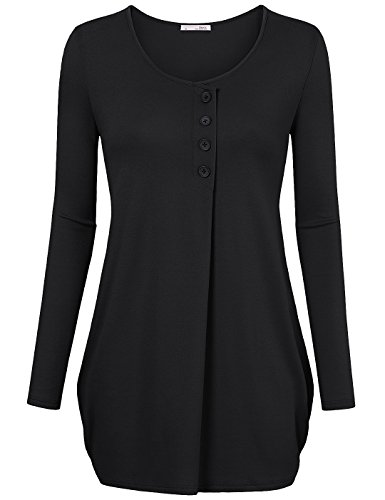 Messic-Womens-Round-Neck-Long-Sleeve-Front-Buttons-Decor-Loose-Knitted-Tunic-Top