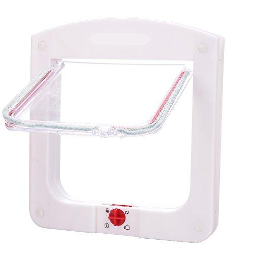 Homdox-Plastic-4-Way-Locking-Lockable-Pet-Cat-Door-Small-Dog-Flap-Door-White