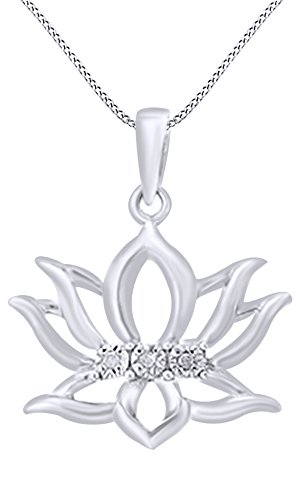 White Diamond Flower Pendant 14k Gold (14k White Gold Over Sterling Silver White Diamond Accent Lotus Flower Pendant Necklace)