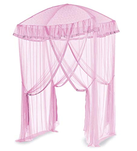 HearthSong Sparkling Lights Hanging Bed Canopy Play Tent with Interior LED Light String - Kid's Bedroom Decor - Fits Twin to Queen Sized Beds - 58 x 50 - Pink (Bed Canape)