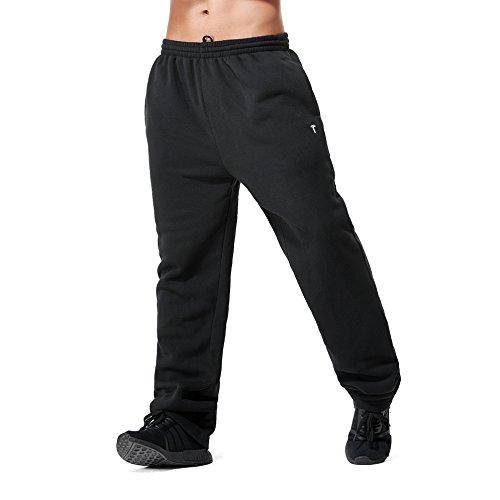 Greatrees Men's Big & Tall Jogger Fleece Pants With Pockets Black (Big Tall Sweatpants)