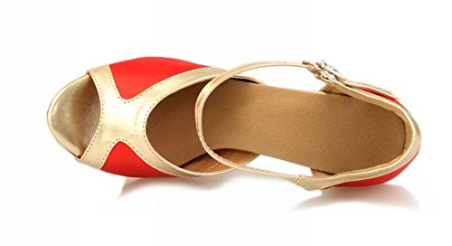 Tda Femmes Cheville Sangle Satin Latine Moderne Samba Rumba Fête Chaussures De Danse Rouge