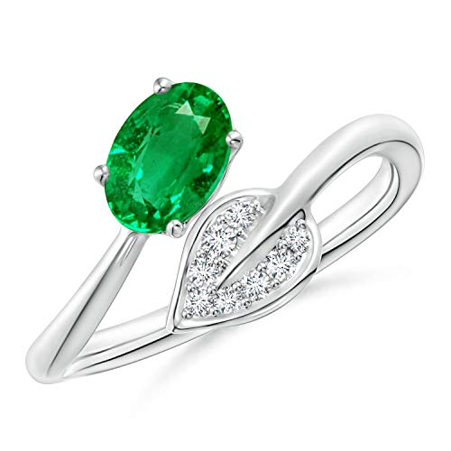 - Nature Inspired Emerald Bypass Ring with Diamond Leaf in Platinum (7x5mm Emerald)