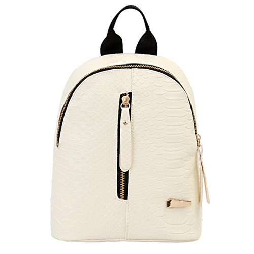 (Outsta Travel Shoulder Bag,Women Leather Backpacks Schoolbags Lightweight Classic Basic Water Resistant Backpack School Bag (White))