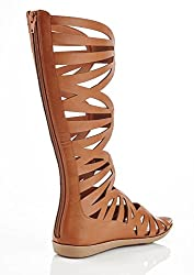 Henry Ferrera Womans Woobar High Calf Gladiator Sandal (8.5, tan)