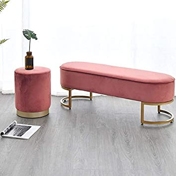 Amazon Com Fanglu Footstool Lady Soft Velvet Bed Footrest Stools Ottomans Entrance Hall Shoes Stool Home Living Room Furniture Dresser Chair Pouf Footstool Color A C1 100cm Furniture Decor