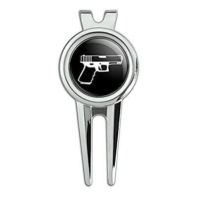 Gun Handgun White on Black Golf Divot Repair Tool and Ball Marker