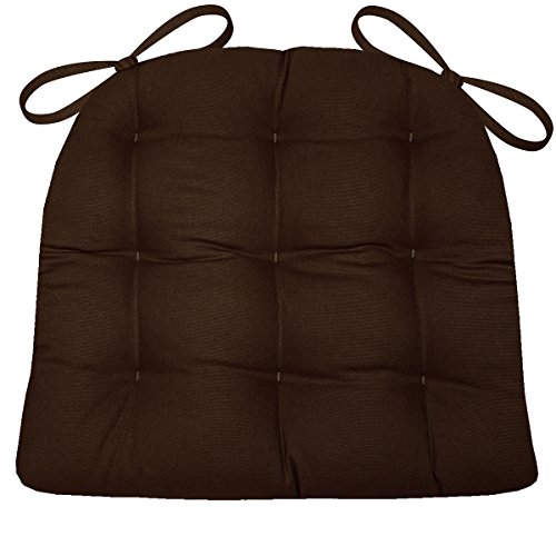 Cotton Chair Room Dining (Dining Chair Pad with Ties - Brown Cotton Duck Solid Color - Extra-Large Size XL - Reversible, Latex Foam Fill)