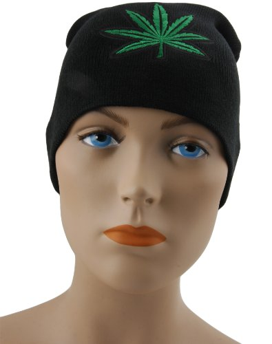Black-Beanie-with-420-Embroidered-Green-Marijuana-Leaf-Patch