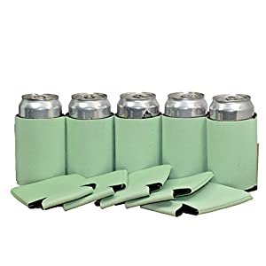 Premium Blank Can Coolers Sleeves Soft Drink Collapsible Insulator Coolers (25, Mint)