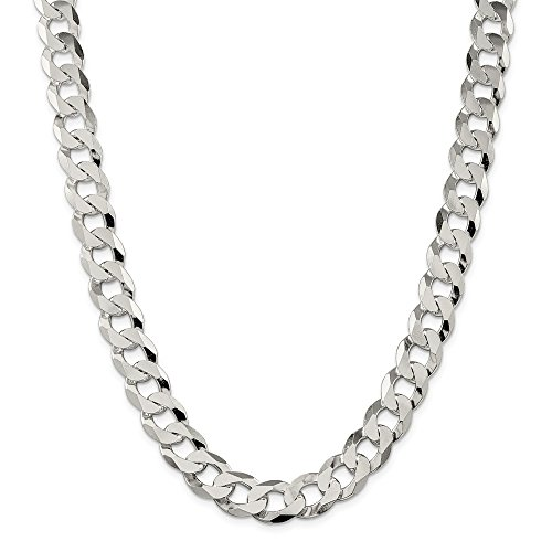Mia Diamonds 925 Sterling Silver Solid 13mm Beveled Curb Necklace Chain -24