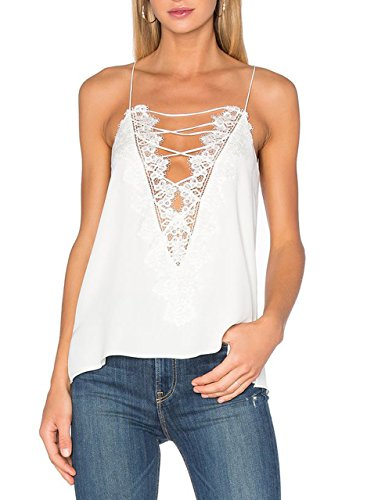 May&Maya Women's Laced Front with Applique Accent Top Tee Tank Cami Vest (White, L)