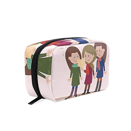 Carolers Girl Makeup Bag Organizer Portable Cosmetic Pouch Handbag With Zipper For Women -