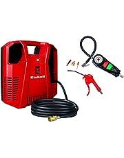 Einhell TH-AC 190 Kit - Compresor (1,1 kW, rendimiento de aspiración: 190 l/min, 8 bar, 1 cilindro, incluye accesorios, funciona sin aceite)
