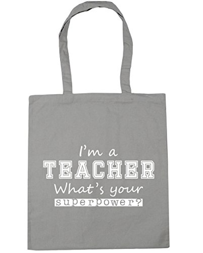 HippoWarehouse I'm a Teacher What's Your Superpower? Tote Shopping Gym Beach Bag 42cm x38cm, 10 litres Light Grey