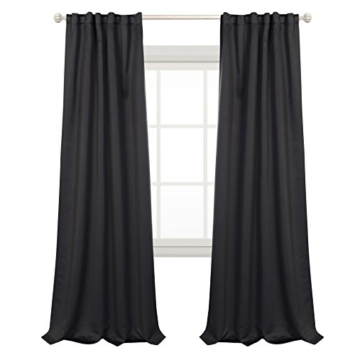 MYSKY HOME Blackout Curtains for Home Movie Theater Decor by Thermal Insulated Back Tap and Rod Pocket Drapes for Living Room (Dark Grey, 52'' Width by 95'' Length, Set of 2 Curtain Panels) by MYSKY HOME