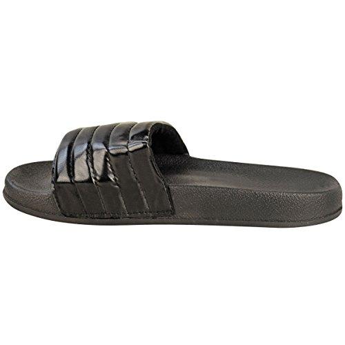 Mujeres Damas Cómodo Brillante Acolchado Goma Deslizadores Zapatos Planos Deslizamiento Pantufla Talla - Negro, 36