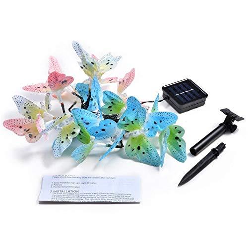 NszzJixo9 Solar Powered 20LED Butterfly Fairy String Light Lamp Outdoor Garden Decoration Garden Light Charged by The Sun Or - Lamp Fairy Butterfly