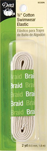 Dritz 9338N Cotton Swimwear Braided Elastic, Natural, 3/8-Inch by 2-Yard