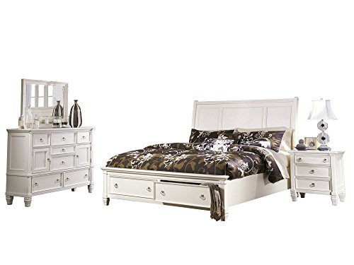 Cal King Sleigh Bedroom Set - Ashley Prentice 4PC Bedroom Set Cal King Sleigh Bed Dresser Mirror One Nightstand in White