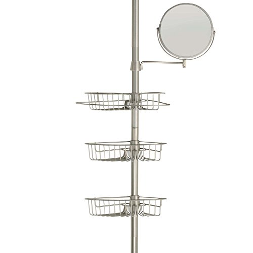 LDR 1160BN Tension Shower Caddy with Adjustable Mirror, 3 Baskets ...