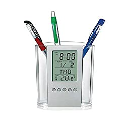Digital Desk Pen Pencil Holder LCD Alarm Clock Thermometer Calendar Display for Home Office School,Fenleo Back to School Supplies
