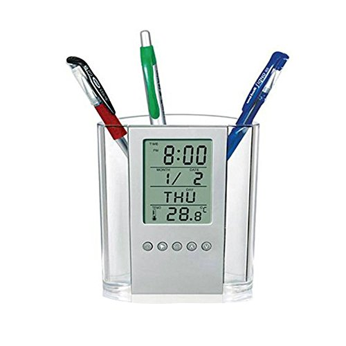 Glumes - American Warehouse Shipment - Creative Electronic Calendar Snooze Alarm Clock Pens Pencil Holder Cup Office Home Desktop Container Organizer Study Work Stationery for Home Office
