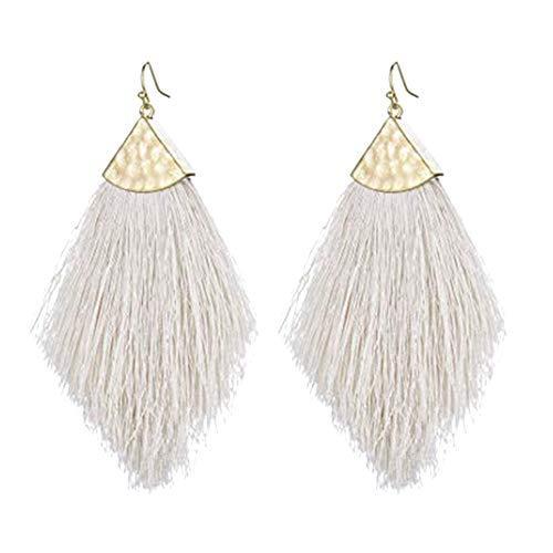 Ivory Tassel Fringe - Ivory Tassel Fringe Earrings Statement Summer Long Drop Dangle Earrings for Women Girls