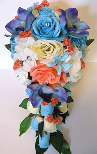 - 17 Piece Wedding Bouquet Set Bridal Bouquet Package Coral Aqua Blue Malibu Orchid Silk Wedding Flowers Bridesmaid Bouquets RosesandDreams Bride Bouquet Tropical Bouquet Corsage