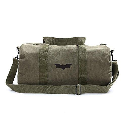 Batman Begins The Dark Knight Sport Heavyweight Canvas Duffel Bag in Olive & Black, Large