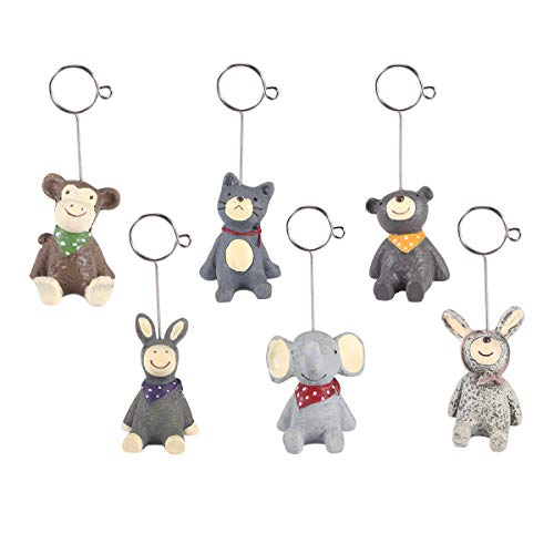 STOBOK 6 Pcs Mini Cute Animal Memo Clip Holder Display for Cards/Notes/Photos/Pictures/Message (Holders Picture Animal)