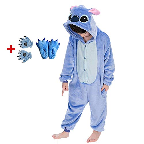 SENSERISE Adult Child Unisex Stitch Onesie Unicorn Pajamas Animal Cosplay Costume Sleepwear(Blue Kid,125(Height 4'6