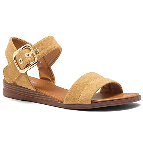 Herstyle Ariella Women's Open Toe Ankle Strap Platform Low Wedge Sandals Fashion Shoes Camel 11.0 ()