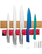 LARHN Messenhouder Magnetisch Hout incl. Plakband - 40cm/15.7in - Messenmagneet Zelfklevend voor Messen, Keukengerei en Gereedschap