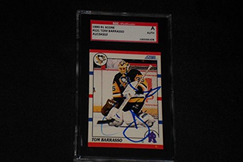 Tom 121 - Tom Barrasso 1990-91 Score Signed Autographed Card #121 Penguins Sgc Authentic - Autographed Hockey Cards