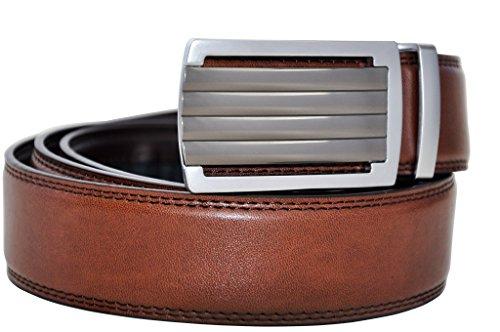 Hampton Men's Leather Ratchet Belt with Innovative Contempo Buckle (36-39 Large, Daytona Buckle with Burnished Saddle Tan Leather) (Match Leather Saddle)
