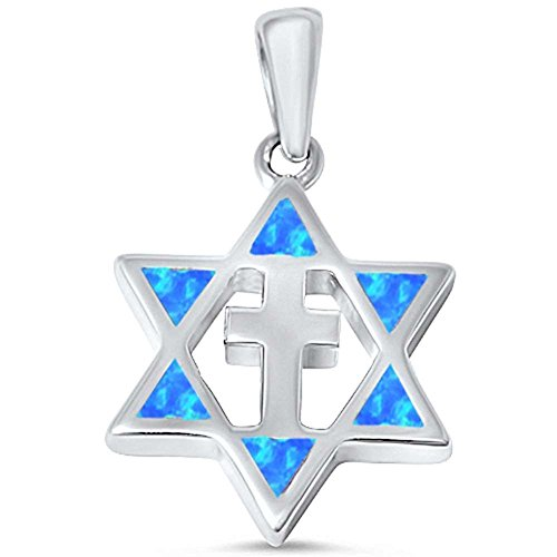 Cross Star of David Pendant Created Blue Opal 925 Sterling Silver (28mm)