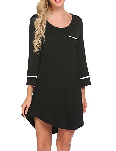 Ekouaer Sleepshirt for Women Cotton Sexy Chemise Sleepwear Loungewear(Back M)