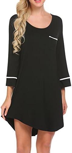 Ekouaer Women's Sleepshirt 3/4 Sleeves Nightgown Sexy Nightshirts Boyfriend Sleepwear S-XXL