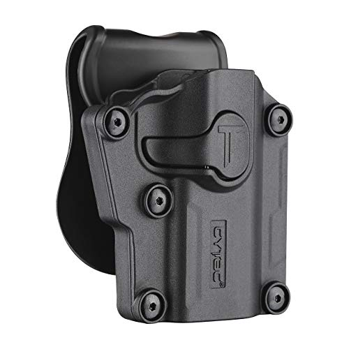 Tactical OWB Paddle Holster, 360° Adjustable Polymer Belt Holster for Colt 1911 Beretta Bersa CZ FN Girsan Hi-Point Kahr Ruger Sig-Sauer Smith&Wesson Springfield Steyr Taurus Walther & More Pistols-RH