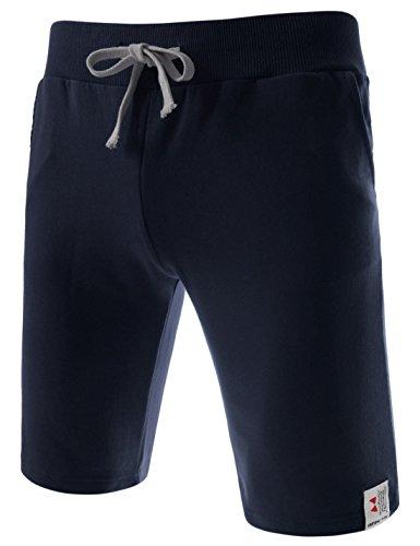 (TTS01) Unisex Cotton Jersey Waist Elastic Jogger Training Beach Board Shorts NAVY Medium(US 27~29)