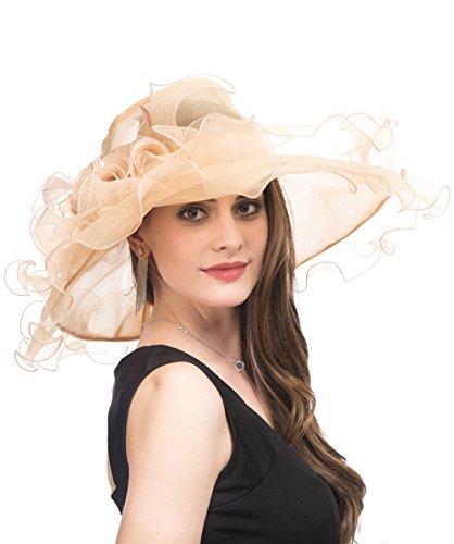 Saferin Lady Tea party Kentucky Derby Church Wedding Dress Church Hat Bridal Shower (SF4-Champagne)