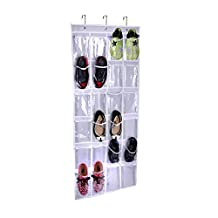 Loriver White Crystal Over-The-Door 24 Pockets Collection Shoe Storage Hanging Bag Organizer