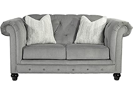 Brilliant Amazon Com The Roomplace Aria Loveseat In Gray Kitchen Machost Co Dining Chair Design Ideas Machostcouk