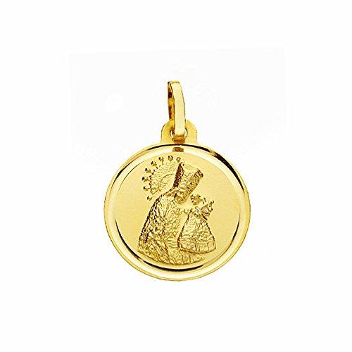 Médaille pendentif Virgin Desamparados d'or 16mm 18k. lunette lisse [AA2571]