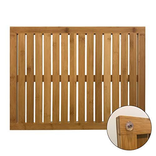 Slip Resistant Low-Maintenance Bamboo Bath Mat Shower Floor Mat Non Slip, Made of 100% Natural Bamboo