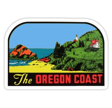 Vintage Travel Decal - The Oregon Coast Vintage Travel Decal - Sticker Graphic - Auto, Wall, Laptop, Cell, Truck Sticker for Windows, Cars, Trucks